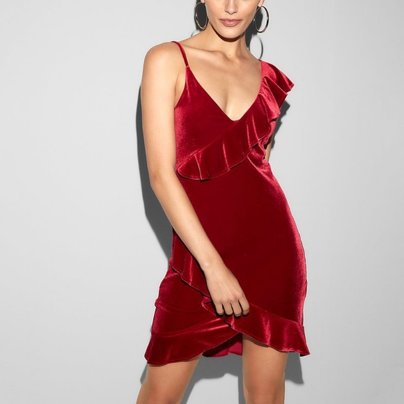 Red Velvet Ruffle Dress Us Xs